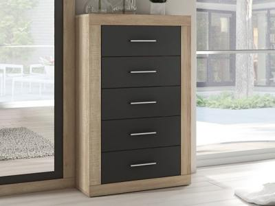 "Tall modern 5 drawer chest of drawers – Catania. ""Oak"" with dark grey fronts"