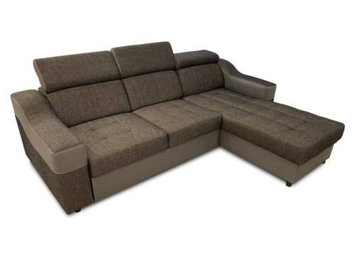 Sofá chaise longue cama con altos reposacabezas, marrón - Albi. Chaise longue reversible montado al lado derecho