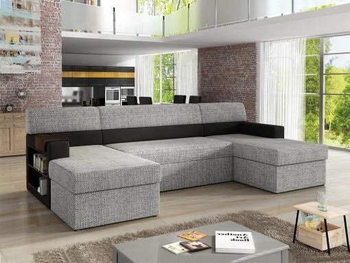 U-shaped Sofa with Side Shelves (Left Side), 2 Storage Compartments and Pull-out Bed - Preston. Grey with Black