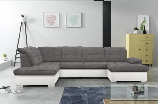 Sofá en forma de U con reposacabezas reclinables - Toronto. Gris con polipiel blanca esquina lado izquierdo