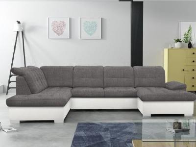 U-shaped sofa with pull-out bed and reclining headrests - Toronto. Left corner. Grey fabric, white faux leather