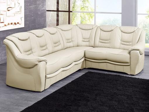 Sofá rinconera clásico de piel auténtica color crema. Esquina lado derecho - Versailles