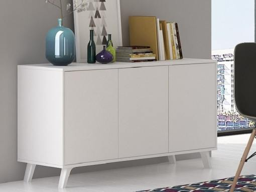 Scandinavian style sideboard with inclined legs - Lucca. White all over