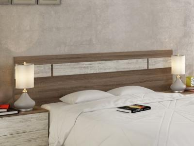 Modern wall mounted headboard with LED lights, 210 cm – Lucca. Colour - brown and light grey