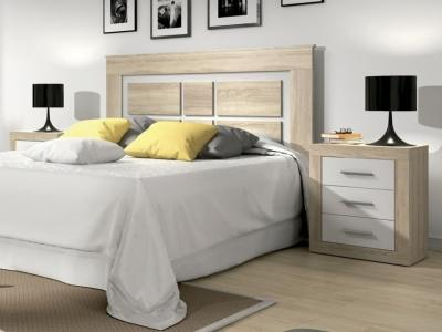 "Modern style bedroom set: headboard and 2 bedside tables - Catania. ""Oak"" with white"