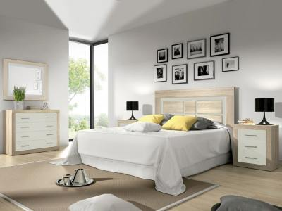 "Complete bedroom set: headboard, 2 bedside tables, wide chest of drawers, mirror - Catania. Colour: ""oak"" with white"