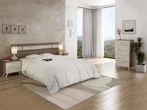 Conjunto dormitorio estilo nórdico - cabecero LED, 2 mesitas de noche y sinfonier - Lucca. Marrón trufa + gris claro