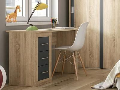 "Modern 3 drawer two tone desk - Catania. ""Oak"" colour with dark grey drawer fronts"