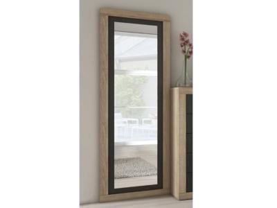 Espejo grande vertical con marco bicolor 180 x 60 cm - Catania. Color roble con grafito (gris oscuro)