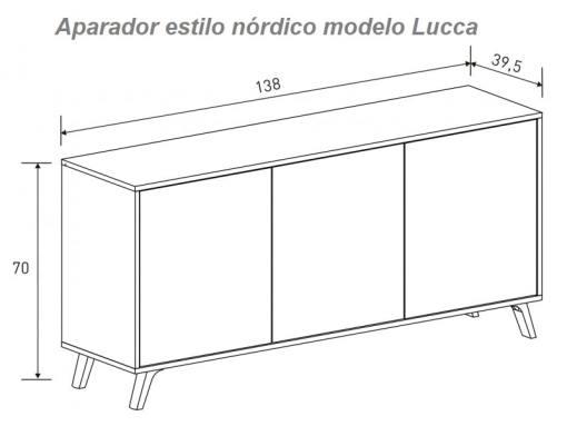 Medidas. Aparador estilo nórdico con patas inclinadas modelo Lucca