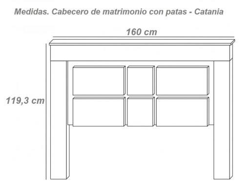 Medidas. Cabecero de matrimonio moderno con patas modelo Catania