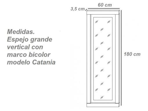 Medidas. Espejo grande vertical con marco bicolor, 180 cm, modelo Catania