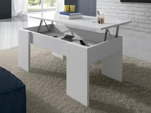 Mesa de centro con tapa elevable - Bonete. Color blanco