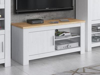 Small One Door TV Stand, 118 cm - Florence. Light grey + oak