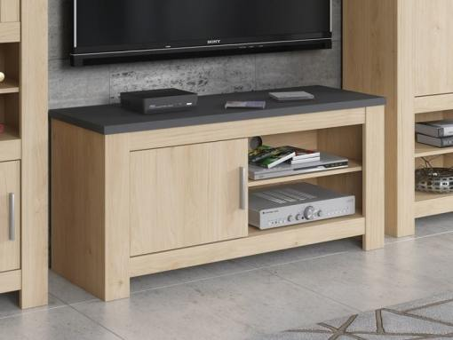 Small One Door TV Stand, 118 cm - Florence. Oak + dark grey