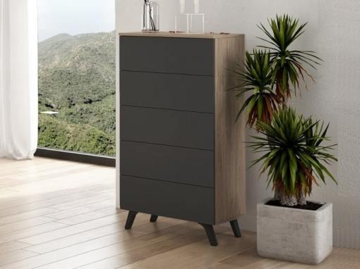 """Modern tall 5 drawer chest of drawers with inclined legs - Lucca. Colour - """"oak"""" and dark grey"""