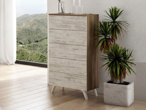 Modern tall 5 drawer chest of drawers with inclined legs - Lucca. Colour - brown and light grey