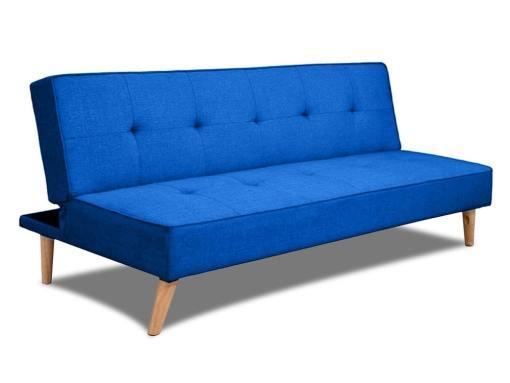 Sofá cama clic-clac económico - Ibiza. Tela color azul claro