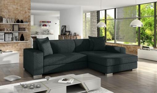 Black fabric minimalist chaise longue sofa bed (right corner) - Maldives