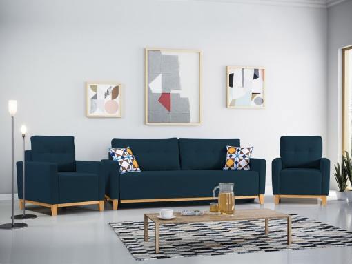 Conjunto de 2 sillones y un sofá cama con patas de madera y arcón. Color azul oscuro - Monaco