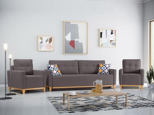 Conjunto de 2 sillones y un sofá cama con patas de madera y arcón. Color gris - Monaco