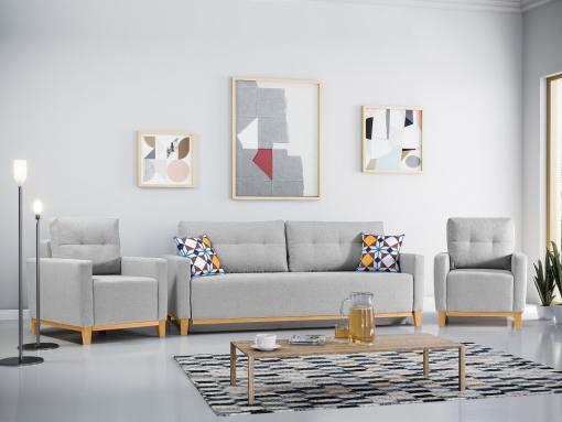 Conjunto de 2 sillones y un sofá cama con patas de madera y arcón. Color gris claro - Monaco