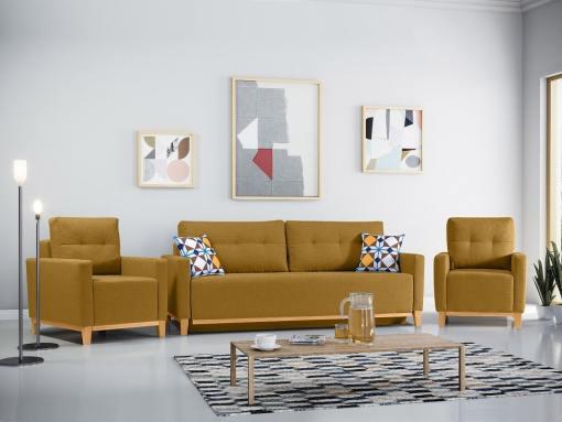 Conjunto de 2 sillones y un sofá cama con patas de madera y arcón. Color 'oro' - Monaco