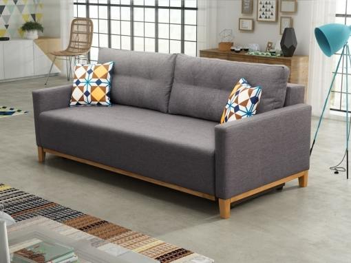 Sofa bed with wood legs and storage - Monaco. Grey fabric