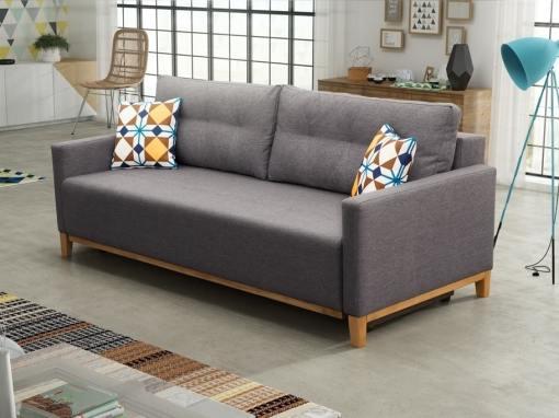 Sofá cama con patas de madera y arcón - Monaco. Color gris