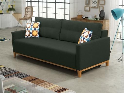 Sofa bed with wood legs and storage - Monaco. Dark green fabric
