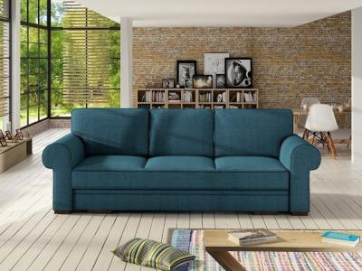 Large rolled arms sofa bed with storage - Lancaster. Blue fabric