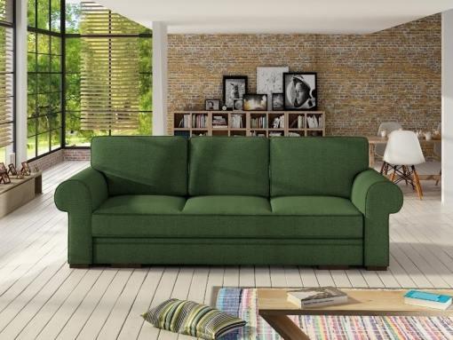 Sofá cama grande estilo clásico con arcón modelo Lancaster. Color verde oscuro