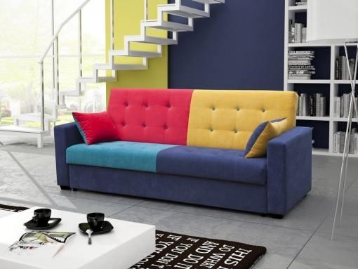 Sofá cama tapizado en tela de 4 colores - Art