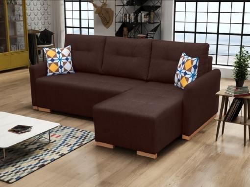 Sofá chaise longue cama (derecho) con arcón - Corsica. Color marrón oscuro