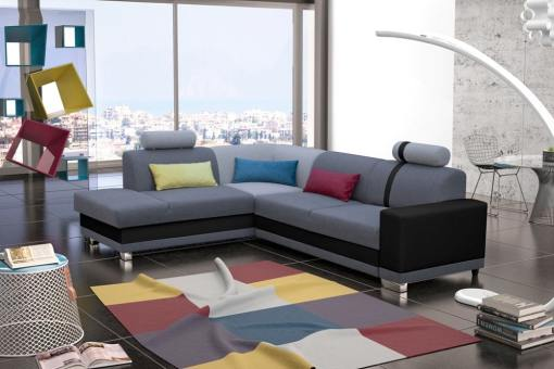 Corner Sofa with Pull-out Bed and Storage. Grey Fabric and Black Synthetic Leather. Left Corner - Fiji