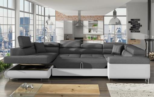 Cama y arcón abiertos del sofá en U moderno (2 chaiselongs) modelo Coventry. Esquina lado derecho. Colores blanco y gris