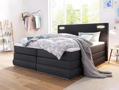 Storage bed with pocket springs mattress and LED Lights, 180 x 200 cm - Martina