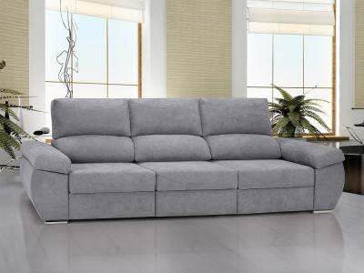 Sofá 3 plazas grande con asientos deslizantes - Cartagena. Color gris claro