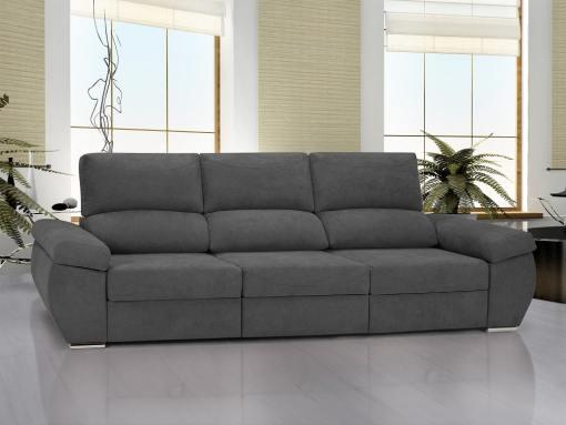 Large 3 seater sofa with sliding seats - Cartagena. Grey fabric