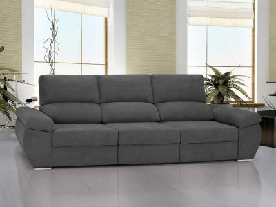 Large 3 seater sofa with sliding seats - Cartagena. Grey fabric