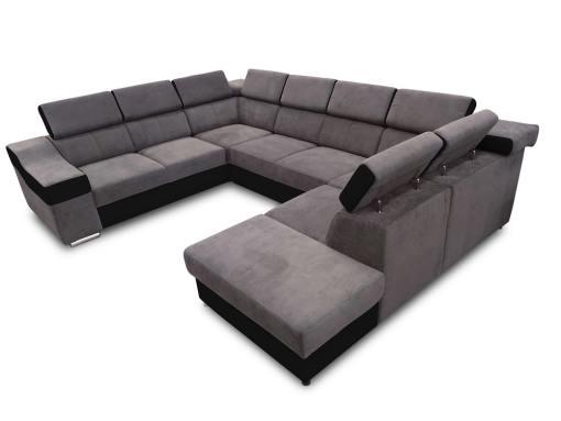 Sofá 7 plazas en forma de U con cama extraíble y reposacabezas reclinables - Cannes. Brazo lado izquierdo. Tela gris oscuro con polipiel negra