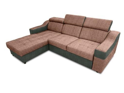 Sofá chaise longue cama con altos reposacabezas_ marrón claro con gris - Albi. Chaise longue reversible montado al lado izquierdo