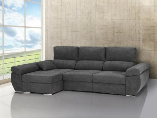 Chaise longue sofa bed with sliding seats, reclining backrests, storage – Marbella. Grey fabric. Chaise longue on the left