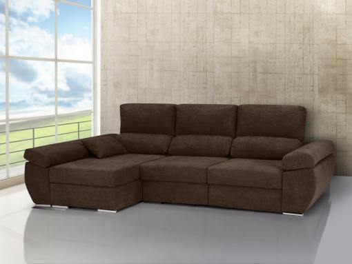 Chaise longue sofa bed with sliding seats, reclining backrests, storage – Marbella. Dark brown fabric. Chaise longue on the left