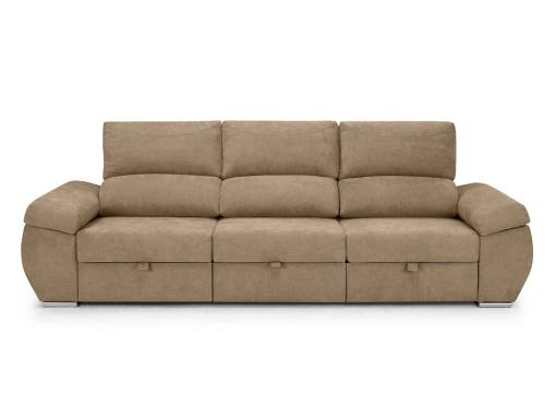Large three seater sofa without chaise longue - Cartagena. Beige fabric