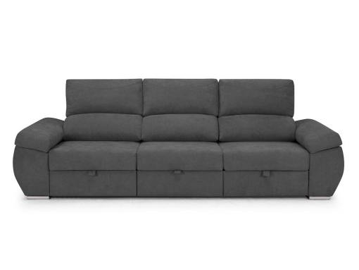 Large three seater sofa without chaise longue - Cartagena. Grey fabric