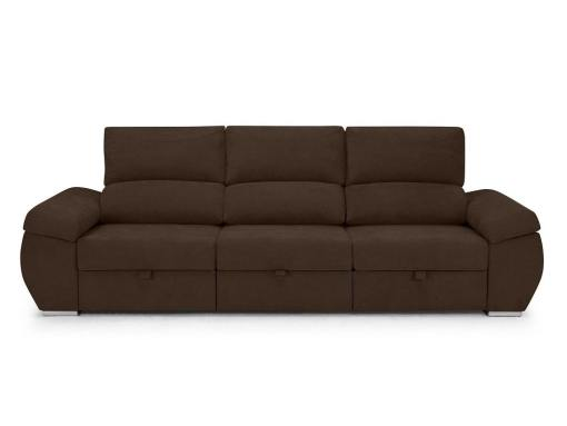 Large three seater sofa without chaise longue - Cartagena. Dark brown fabric