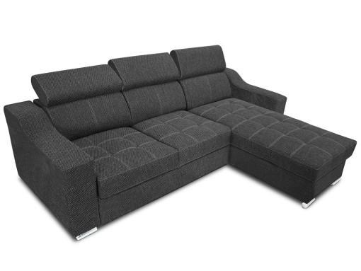 Sofá chaise longue cama con altos reposacabezas - Albi. Tela gris (todo el sofá). Chaise longue montado al lado derecho