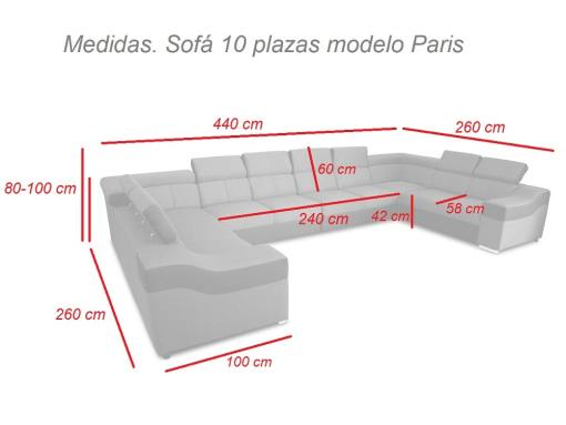 Размеры 10-местного дивана Paris