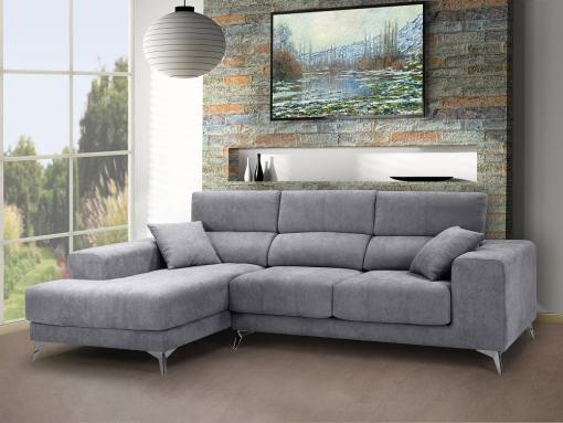Chaise longue sofa with sliding memory foam seats - Nashville. Light grey fabric. Chaise longue on the left